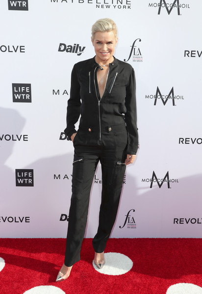 More Pics of Yolanda Hadid Jumpsuit (2 of 3) - Suits Lookbook - StyleBistro [red carpet,carpet,suit,clothing,footwear,fashion,premiere,formal wear,flooring,outerwear,arrivals,yolanda hadid,west hollywood,california,sunset tower hotel,daily front row,3rd annual fashion los angeles awards]
