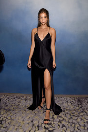Barbara Palvin made an alluring choice with this black satin slip dress for her Fashion Media Awards look.