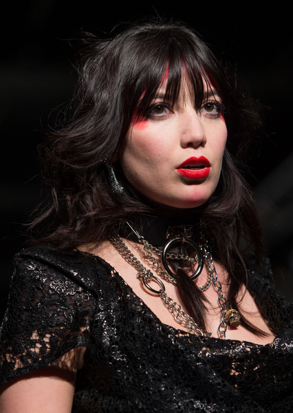 Daisy Lowe Leather Choker Necklace [hair,beauty,lip,hairstyle,chin,fashion,nose,black hair,model,darkness,daisy lowe,fw15,vivienne westwood red label - runway,runway,london,england,science museum,vivienne westwood red label,lfw,show]