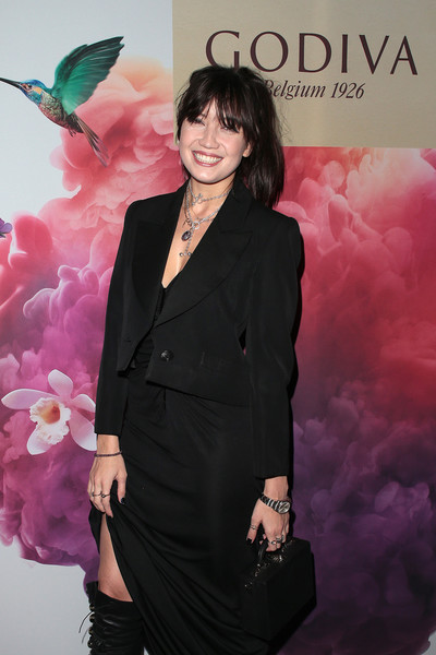 Daisy Lowe Leather Purse [formal wear,pink,fashion,suit,tuxedo,outerwear,event,premiere,album cover,magenta,london,england,godiva masterpiece banquet,gingerline,daisy lowe]
