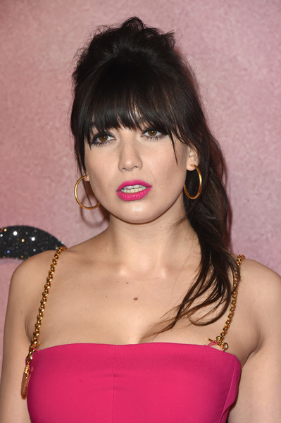Daisy Lowe Gold Hoops [hair,hairstyle,face,lip,shoulder,lady,beauty,black hair,chin,eyebrow,red carpet arrivals,daisy lowe,london,united kingdom,the fashion awards]