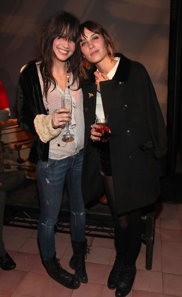 Daisy Lowe Ripped Jeans [alexa chung,daisy lowe,fashion,footwear,event,jeans,textile,outerwear,tights,leather,drink,alcohol,new york city,bowery hotel,madewell collection launch]