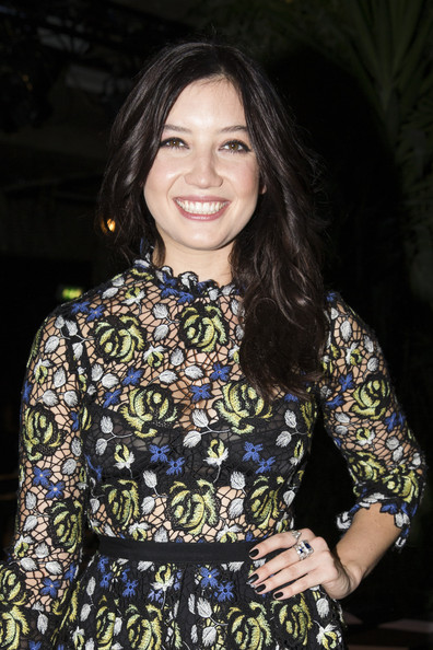 Daisy Lowe Dark Nail Polish [fashion,brown hair,smile,portrait,fashion design,black hair,daisy lowe,erdem,front row,london,england,london fashion week,show]
