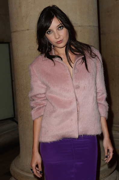 Daisy Lowe Wool Coat [show,clothing,pink,purple,fashion,outerwear,lip,long hair,brown hair,neck,blouse,jonathan saunders,daisy lowe,front row,london,england,tate britain,london fashion week]