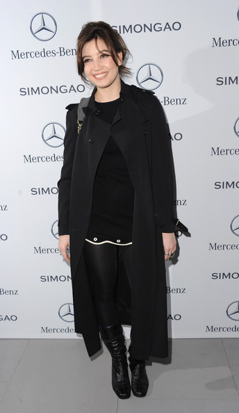 Daisy Lowe Tights [clothing,overcoat,outerwear,coat,fashion,hairstyle,shoulder,trench coat,footwear,formal wear,arrivals,daisy lowe,england,london,somerset house,mercedes-benz simon gao show a,mercedes-benz simon gao a,w 2014 show]