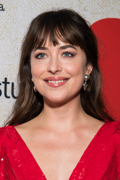 Dakota Johnson Sterling Dangle Earrings [suspiria,hair,hairstyle,face,eyebrow,lip,chin,shoulder,bangs,layered hair,brown hair,red carpet,dakota johnson,california,hollywood,arclight cinerama dome,amazon studios,premiere,premiere]