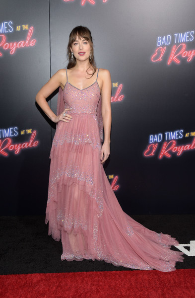 Dakota Johnson Princess Gown [bad times at the el royale,clothing,shoulder,dress,red carpet,premiere,carpet,gown,pink,flooring,fashion,arrivals,dakota johnson,tcl chinese theatre,california,hollywood,20th century fox,premiere,premiere]