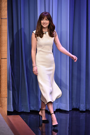 Dakota Johnson was svelte and chic in an ivory Balenciaga dress during her appearance on 'The Tonight Show.'