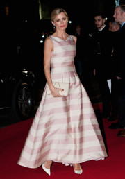 Laura Bailey was eye candy in a pink striped gown at the UK premiere of 'The Danish Girl.'