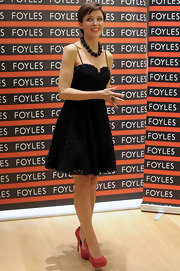 Dannii Minogue looked sweet in a black '50s silhouette at the the Foyles bookshop in Westfield.