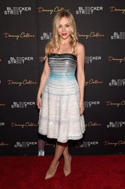 Katarina Cas dazzled in an embellished, striped strapless dress during the NYC premiere of 'Danny Collins.'
