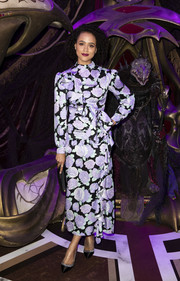 Nathalie Emmanuel went for a ladylike vibe in a long-sleeve floral dress by Miu Miu at the European premiere of 'The Dark Crystal: Age of Resistance.'