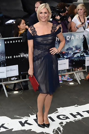 Jenni Falconer opted for a feminine navy lace number at the European premiere of 'The Dark Knight Rises.'