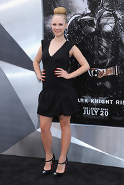 Juno Temple was a doll in this drop-waist ruffled LBD at the 'Dark Knight' NY premiere.