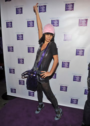 Bai Ling hit the Dark & Lovely purple carpetin pale blue buckled heels.