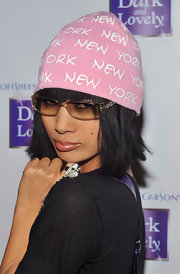 Bai Ling represented New York in a pink knit beanie.