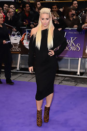 Kimberly Wyatt arrived at the European premiere of 'Dark Shadows' wearing a statement-making pair of animal print ankle boots.