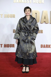 Kristin Scott Thomas arrived for the UK premiere of 'Darkest Hour' wearing a chic cosmic-print coat by Dior.