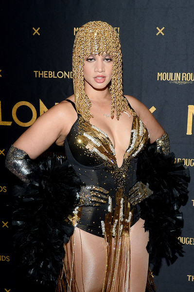 Dascha Polanco Bodysuit [the shows,shows,the blonds,lady,fashion,costume,costume design,performance,black hair,long hair,dancer,moulin rouge,dascha polanco,musical - front row,new york city,blonds,new york fashion week]