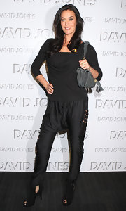Megan Gale looked a little odd in a pair of slashed black drop-crotch pants at the David Jones autumn/winter season launch.