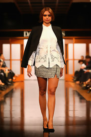 Samantha Harris strutted down the runway in a dressy mini skirt at the David Jones fashion show.