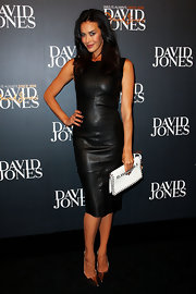 Megan Gale went for simple sophistication with this little black leather dress during the David Jones fashion launch.