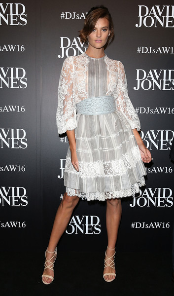 Montana Cox opted for a frilly lace-panel cocktail dress by Zimmermann when she attended the David Jones fashion launch.