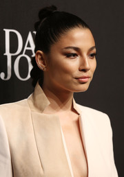 Jessica Gomes attended the David Jones fashion launch wearing her hair in a tight braid.