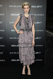 Elizabeth Debicki exuded ultra-girly appeal in a striped ruffle dress by Romance Was Born at the David Jones Autumn 2017 collections launch.