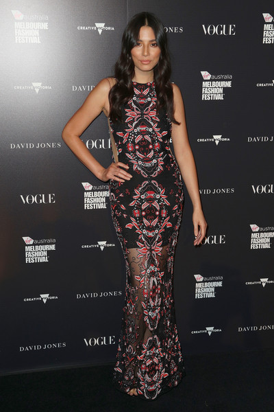 Jessica Gomes hit the David Jones Gala Runway Show wearing an embroidered sheer-bottom gown.