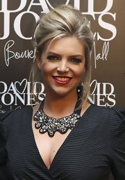 Rebecca Madden showed off her stunning statement necklace while hitting the David Jones store opening.