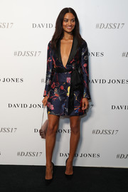 Shanina Shaik looked sharp and sexy in a printed tuxedo dress with a plunging neckline at the David Jones collections launch.
