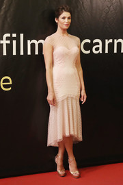 Gemma Arterton looked very ladylike in a nude Swiss-dot fishtail dress at the Locarno Film Fest premiere of 'The Girl with All the Gifts.'