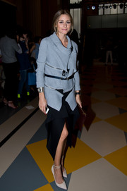 Olivia Palermo amped up the trendy vibe with a tiered, front-slit skirt.