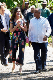 Queen Letizia of Spain was casual and stylish in a floral jumpsuit by Uterque on day 3 of her trip to the Dominican Republic.