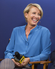Emma Thompson donned a collarless blue button-down for her visit to the IMDb Studio.