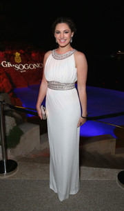 Kelly Brook looked divine in a white and silver Grecian gown during the De Grisogono party in Cannes.