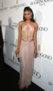 Chanel Iman looked ravishing in an embellished pale-pink cutout gown at the De Grisogono party in Cannes.