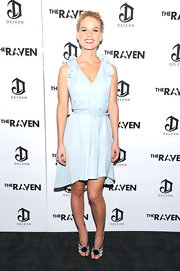 Alice Eve stepped out to a screening of 'The Raven' wearing an adorable pair of multi-hued and jeweled sandals.