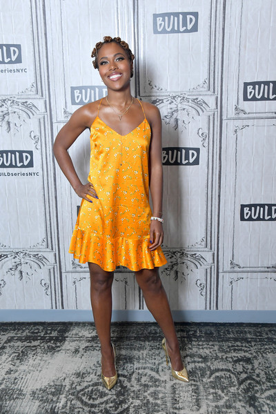 DeWanda Wise Evening Pumps [shes gotta have it public shakespeare in the park,clothing,cocktail dress,yellow,dress,fashion,fashion model,shoulder,orange,hairstyle,footwear,celebrities,dewanda wise,build,new york city,build studio]