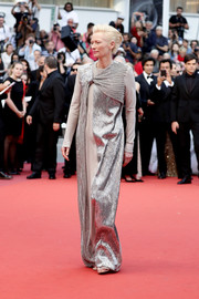 Tilda Swinton went for edgy glamour in a gray Haider Ackermann gown with a beaded silver overlay at the 2019 Cannes Film Festival opening ceremony.
