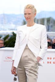 Tilda Swinton looked modern in a structured white blazer by Haider Ackermann at the 2019 Cannes Film Festival photocall for 'The Dead Don't Die.'