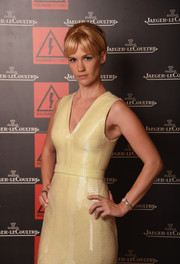 January Jones flaunted an elegant silver bracelet watch by Jaeger-LeCoultre at the 2014 Venice Film Festival.