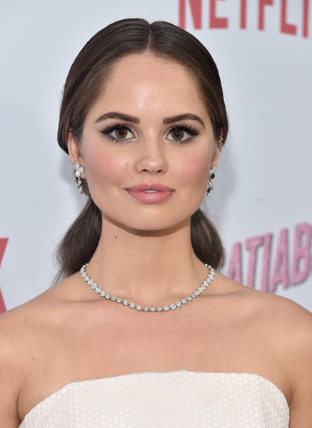 Debby Ryan Diamond Tennis Necklace [red carpet,insatiable,season,hair,face,hairstyle,lip,eyebrow,shoulder,chin,skin,beauty,forehead,debby ryan,arclight hollywood,california,netflix,premiere]