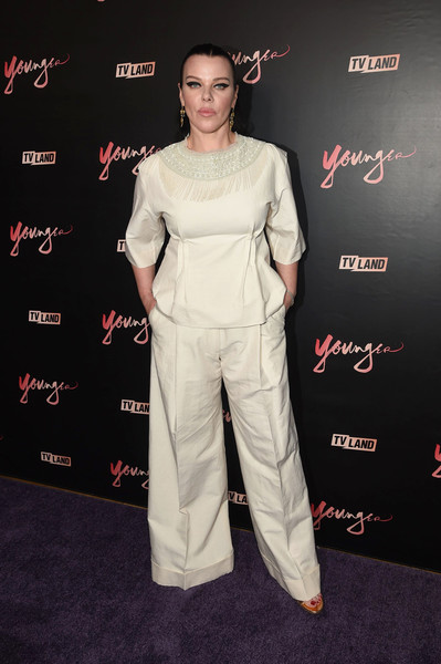 Debi Mazar Fringed Top [younger season four,clothing,shoulder,red carpet,premiere,carpet,joint,dress,pantsuit,flooring,event,mr.,debi mazar,new york city,purple,premiere party,younger season four premiere party]