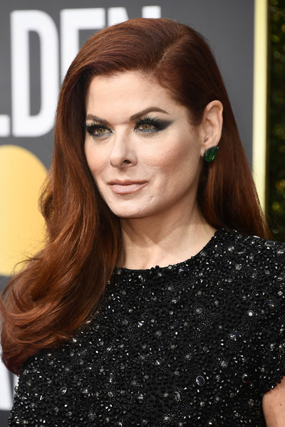 Debra Messing Long Side Part [hair,face,hairstyle,eyebrow,brown hair,long hair,lip,beauty,hair coloring,chin,arrivals,debra messing,beverly hills,california,the beverly hilton hotel,golden globe awards,annual golden globe awards]