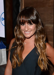 Lea showed off her gorgeous summery ombre locks with a wavy 'do that featured her bold bangs.