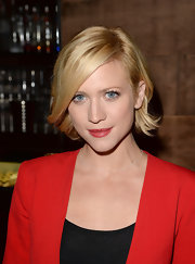 Brittany matched her ruby red lips to her bold blazer while out at the Hyde Lounge.
