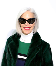 Linda Fargo couldn't be missed with her perfectly styled silver bob at the Delpozo fashion show.
