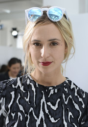 Elisabeth von Thurn und Taxis sported a cool pair of mirrored shades a the Delpozo Spring 2015 show.